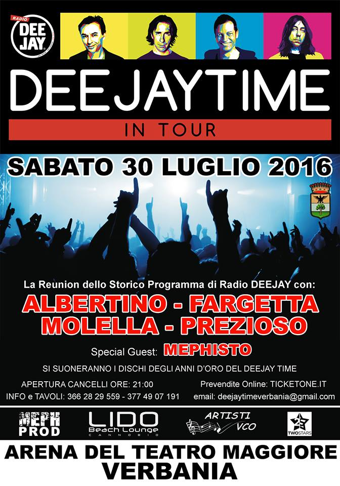 deejay time reunion tour 2016 verbania