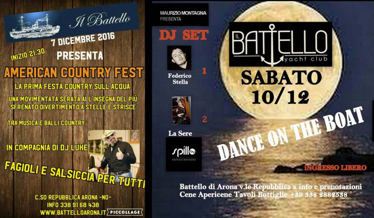 Country Fest  7 dic. e Dance on the Boat  10 dic.